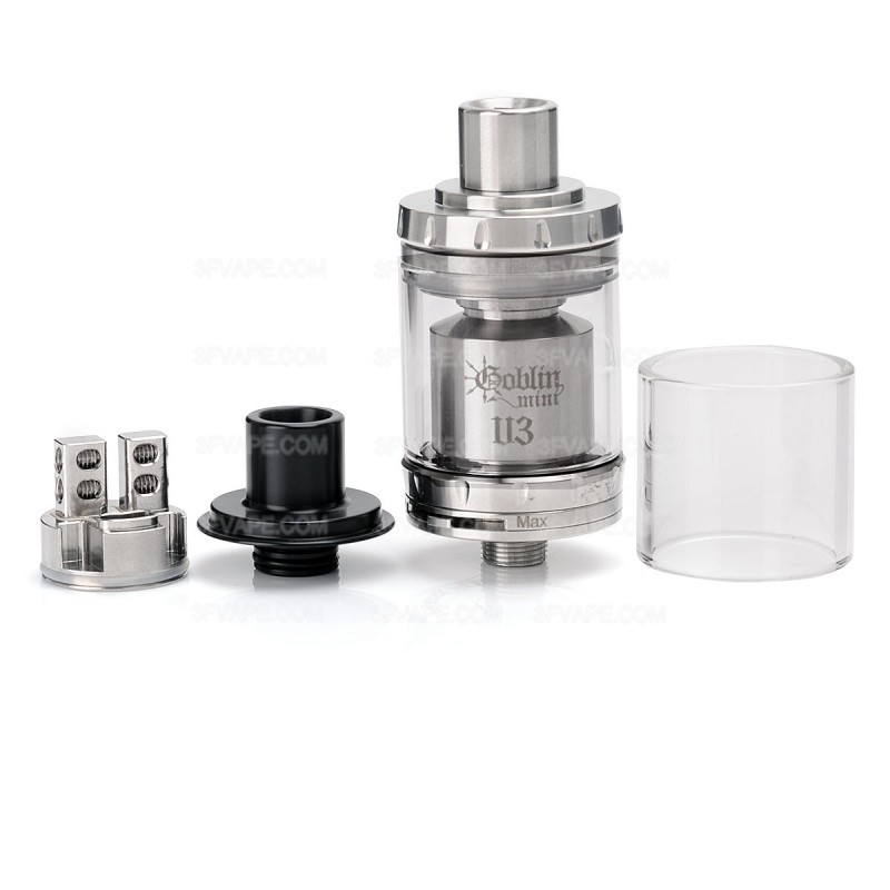 authentic youde ud goblin mini v3 rta rebuildable tank atomizer silver stainless steel 2ml 22mm diameter - UD Mesmer GL